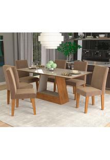 Conjunto De 6 Cadeiras Para Sala De Jantar 180X90 Alana/Milena-Cimol - Savana / Off White / Pluma
