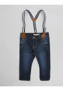 Calça Jeans Infantil Slim Com Suspensório Azul Escuro