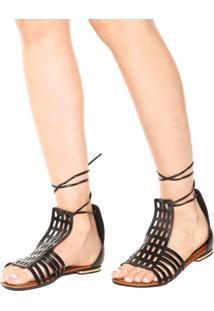 Rasteira Dafiti Shoes Gladiadora Recortes Preta