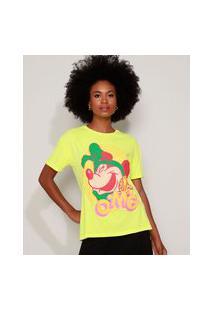 "Camiseta Feminina Ampla Minnie ""Omg"" Manga Curta Decote Redondo Verde Neon"