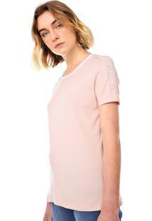 Camiseta Calvin Klein Recortes Rosa/Branca