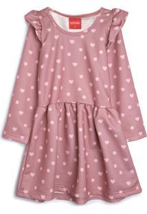 Vestido De Moletom Tricae Infantil Corações Rosa - Tricae