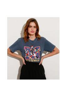 T-Shirt De Algodão Mickey Manga Curta Decote Redondo Mindset Azul Marinho