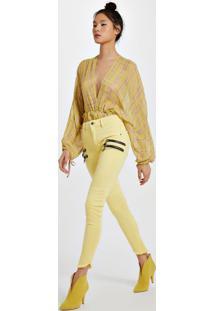 Calça De Sarja Frente Zíperes Slim Amarelo Yoko - 44