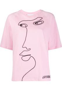 Moschino Camiseta Com Estampa De Face - Rosa
