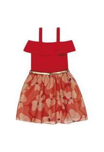 Vestido Lecimar Kids Em Cotton E Tule Alto Veráo Vermelho
