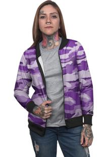 Jaqueta Bomber Chess Clothing Camuflado Roxo