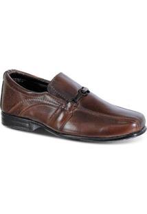 Sapato Social Infantil Leoppé Elástico Detalhe Superior Conforto - Masculino-Marrom