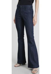 Calça Jeans Feminina Flare Azul Escuro