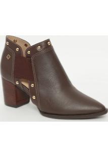Ankle Boot Em Couro Com Textura Animal- Marrom- Saltcapodarte