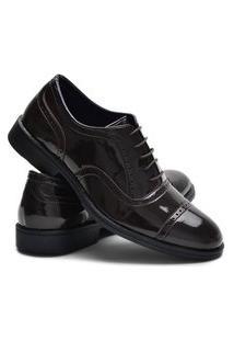 Sapato Oxford Ruggero Masculino Verniz Confortável Festa Café 37 Marrom