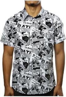 Camisa Camaleão Urbano Jornal Retrô Masculina - Masculino