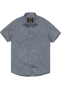 Camisa Khelf Tricoline Folhagem Cinza