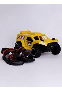 Sandália Hot Wheels Monster Truck Infantil Para Menino - Preto/Laranja/Azul