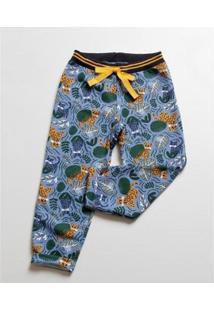 Calça Infantil Moletom Estampa Trigres Mr Masculina - Masculino-Azul+Amarelo