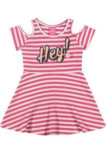 Vestido Infantil - Listrado - Hey - Rosa - Kamylus - 1