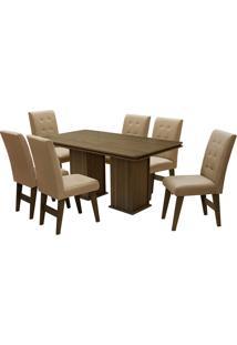 Conjunto De Mesa Para Sala De Jantar Com 6 Cadeiras Esparta-Dobue - Castanho / Mascavo