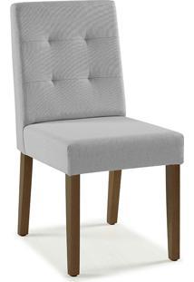 Cadeira Para Sala Estofada Lipy - Verniz Capuccino - Tec. 154B Cinza Claro - 45X50X90 Cm