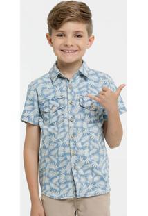 Camisa Infantil Jeans Estampa Tropical Marisa