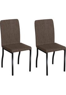 Conjunto Com 2 Cadeiras Napier Marrom E Preto