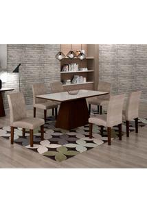Conjunto De Mesa De Jantar Luna Com Vidro E 6 Cadeiras Ane Suede Amassado Castor E Branco