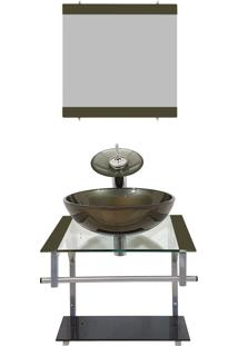 Gabinete Vidro Para Banheiro Croácia Ouro Envelhecido Ekasa