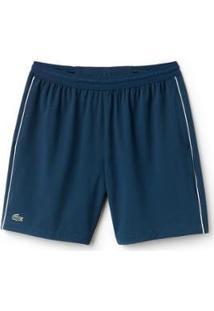 Bermuda Lacoste Sport Regular Fit Masculina - Masculino-Azul+Branco