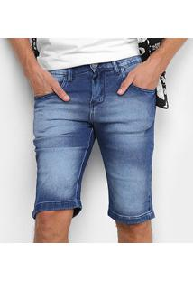 Bermuda Jeans Preston Básica Estonada Masculina - Masculino-Azul