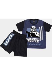 Pijama Infantil Lupo Disney Star Wars - Masculino-Azul
