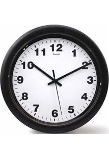 Relógio De Parede Em Plástico Redondo 30Cm Branco E Preto