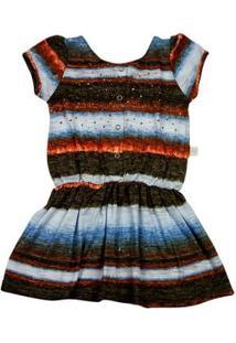 Vestido Infantil Em Malha Flamê Reciclato Estampa Listrada - Azul 1