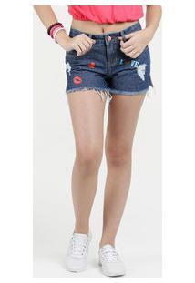 Short Juvenil Jeans Destroyed Bordado Marisa