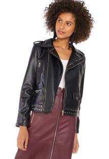 Jaqueta Leather Com Aplicações