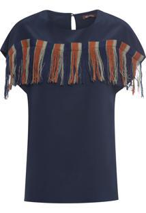 Camiseta Feminina Franjas - Azul