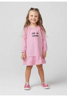 Vestido Infantil Menina Com Estampa Toddler Rosa