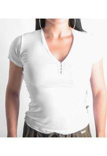Camiseta Viscolycra Duquesa Feminina - Feminino-Branco