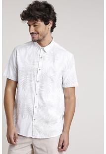 Camisa Masculina Tradicional Estampada De Folhagem Manga Curta Off White