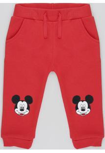 Calça Infantil Mickey Com Bordado Em Moletom Felpado Vermelha