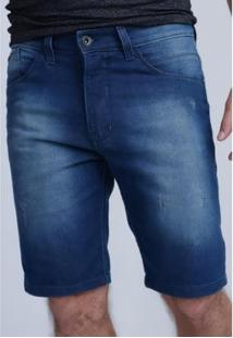 Bermuda Hd Jeans Regular Confort Fit Masculino - Masculino-Azul