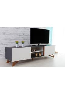 Rack Tv Preto Moderno Vintage Retrô Com 2 Portas Branca Freddie - 180X43,6X48,5 Cm