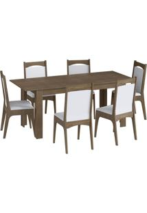 Conjunto Mesa Elástica 8 Cadeiras Mdf Ameixa Negra E Branco