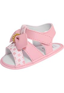 Sandália Para Bebê Lugui Menina Com Laço E Strass Rosa Claro