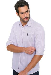 Camisa Aleatory Slim Quadriculada Branca/Vermelha