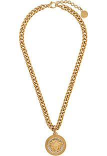Versace Colar Medusa Com Corrente - Dourado