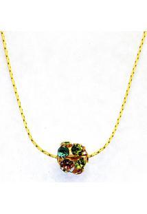 Gargantilha Horus Import Color Strass Banhada Ouro Amarelo 18 K - Dourado - Tricae