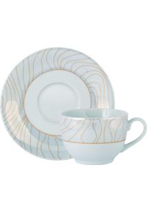 Xícara Chá C/ Pires Porcelana Schmidt - Dec. Golden Oak