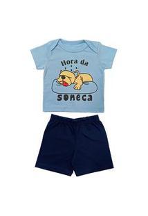 Pijama Bebê Manga Curta Catha Hora Da Soneca Marinho