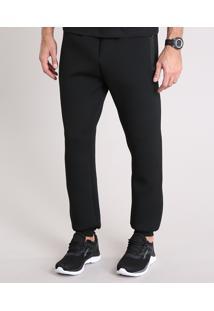 Calça Masculina Esportiva Ace Em Moletom Com Bolsos Preta