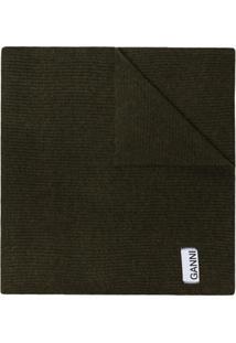 Ganni Cachecol De Tricô Com Patch De Logo - Verde