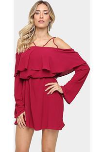 Vestido Morena Rosa Amplo Babado - Feminino